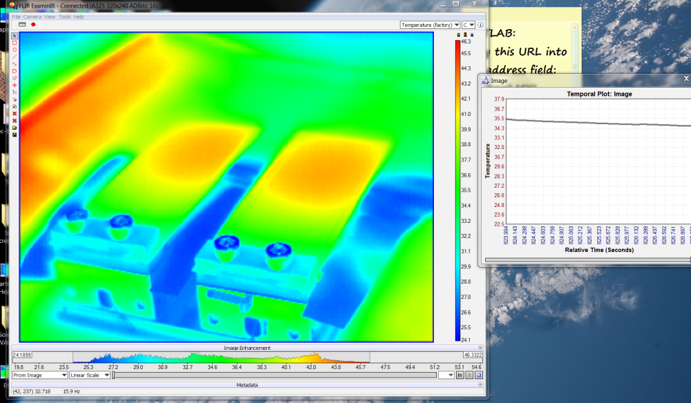 Screen shot of thermal camera measurements on test actuators. Thermal gradients were being measured.